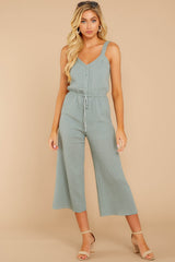 4 Late Summer Evenings Sage Jumpsuit at reddressboutique.com