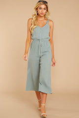 5 Late Summer Evenings Sage Jumpsuit at reddressboutique.com
