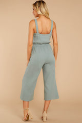 6 Late Summer Evenings Sage Jumpsuit at reddressboutique.com
