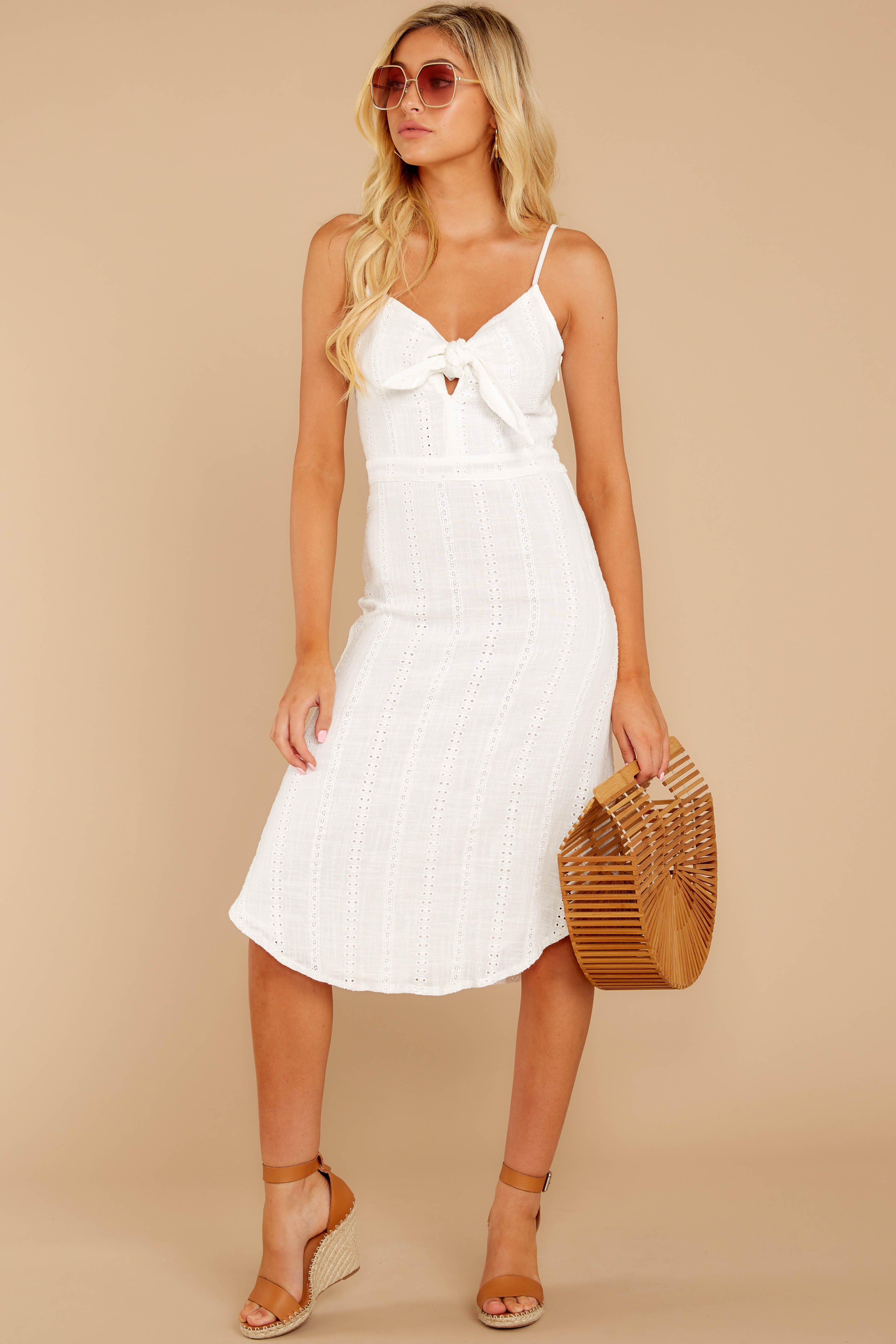 1 Impression Of Love White Eyelet Midi Dress at reddress.com