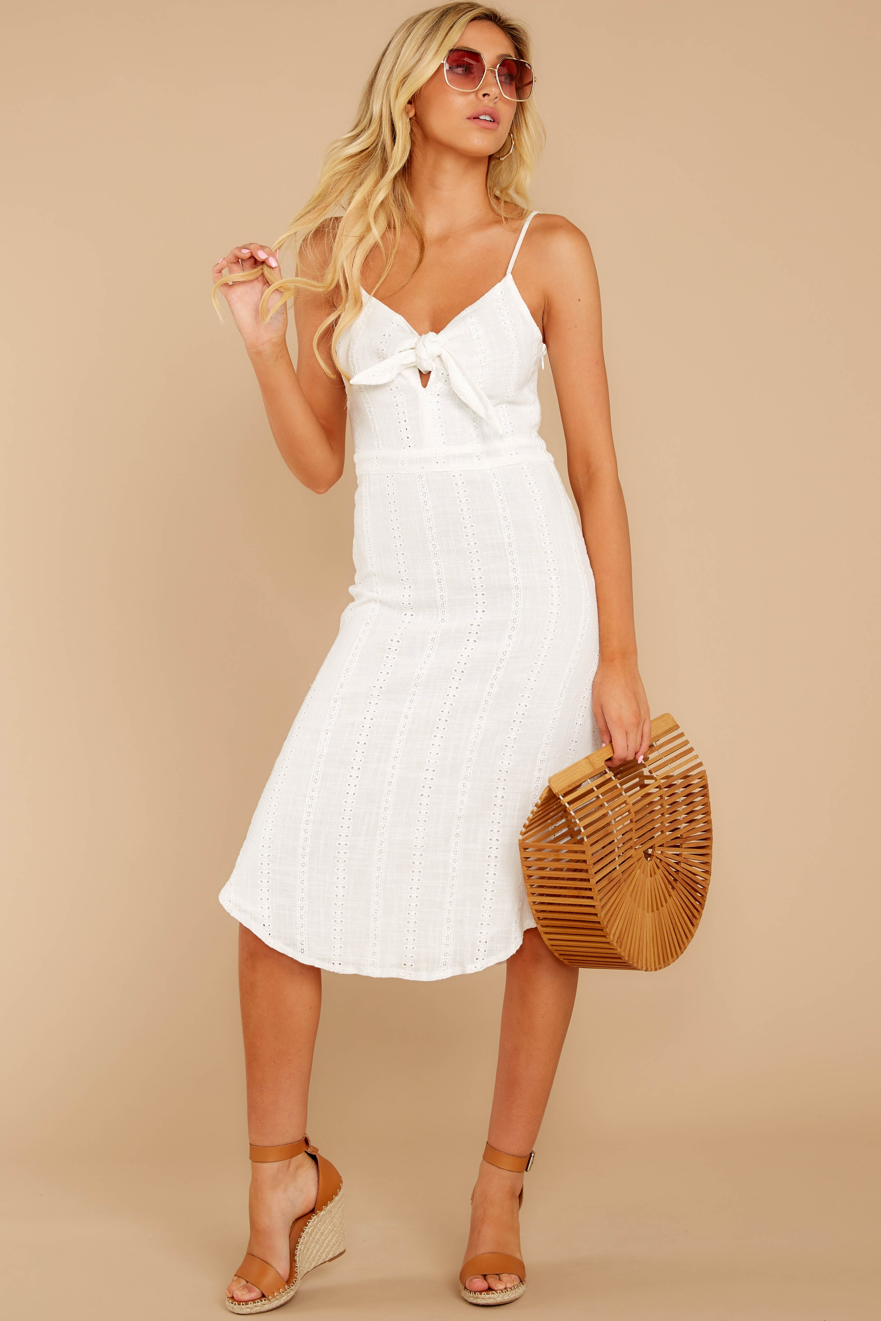 3 Impression Of Love White Eyelet Midi Dress at reddress.com