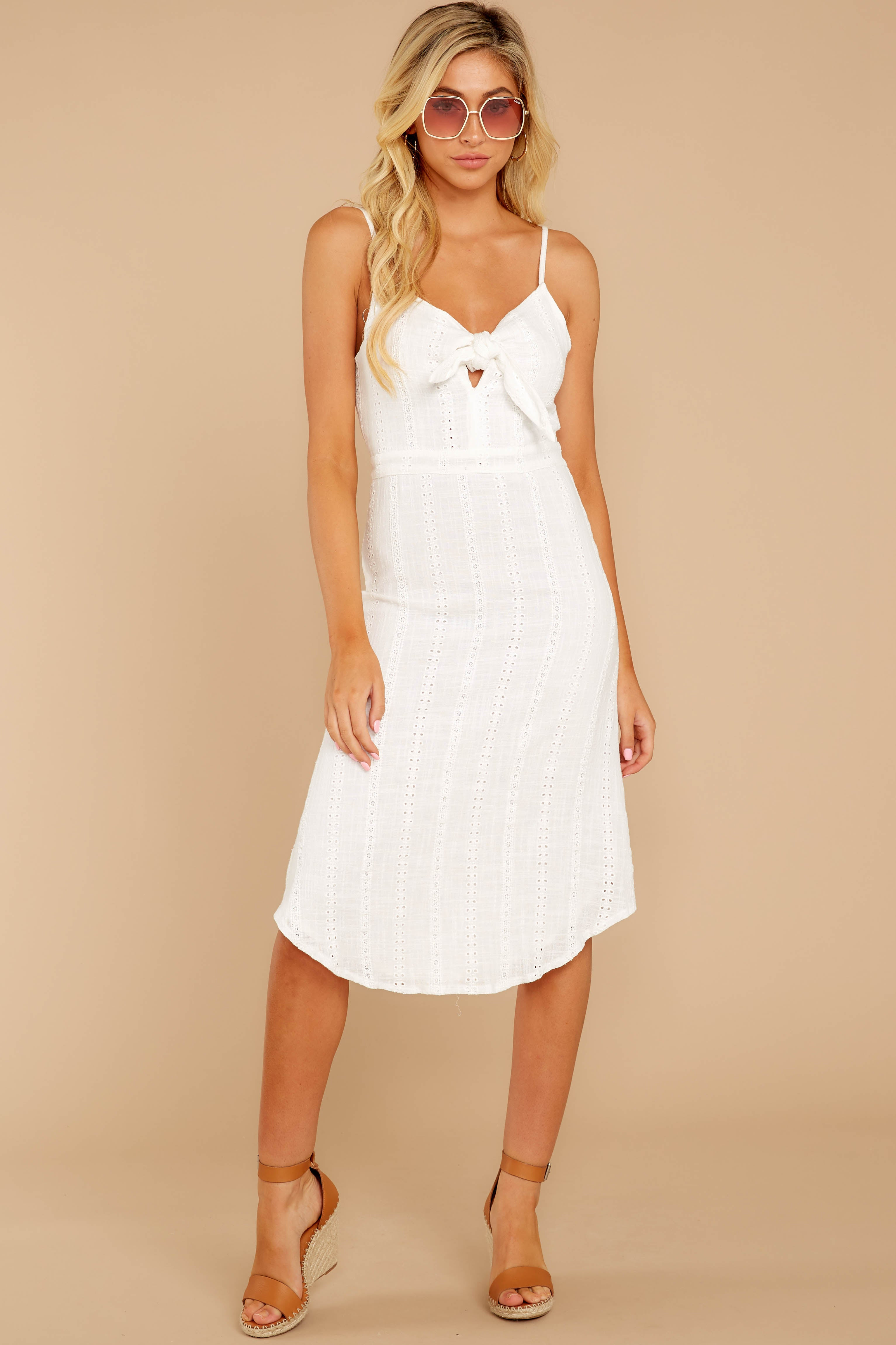 5 Impression Of Love White Eyelet Midi Dress at reddress.com