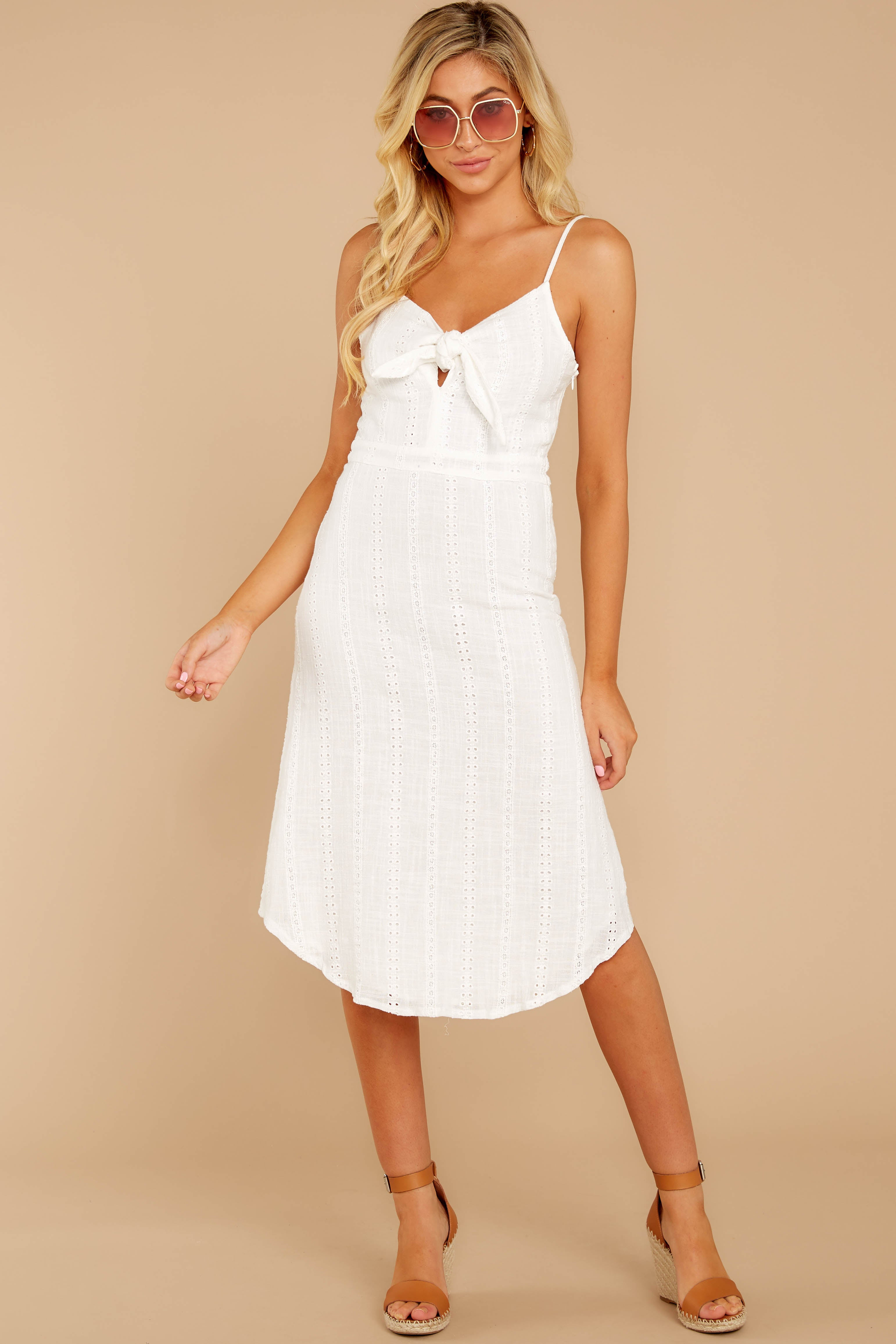 6 Impression Of Love White Eyelet Midi Dress at reddress.com