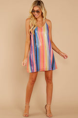 3 Shimmering Rainbows Pink Multi Stripe Sequin Dress at reddressboutique.com