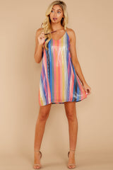 2 Shimmering Rainbows Pink Multi Stripe Sequin Dress at reddressboutique.com