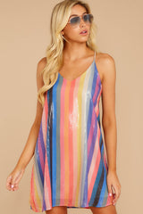 4 Shimmering Rainbows Pink Multi Stripe Sequin Dress at reddressboutique.com