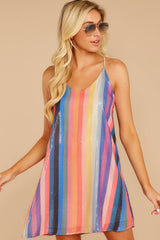 5 Shimmering Rainbows Pink Multi Stripe Sequin Dress at reddressboutique.com