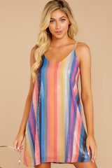 6 Shimmering Rainbows Pink Multi Stripe Sequin Dress at reddressboutique.com