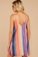 7 Shimmering Rainbows Pink Multi Stripe Sequin Dress at reddressboutique.com