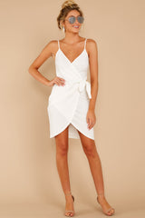 2 She's Arrived White Wrap Dress at reddressboutique.com