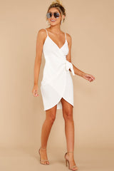 3 She's Arrived White Wrap Dress at reddressboutique.com