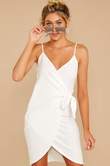 4 She's Arrived White Wrap Dress at reddressboutique.com