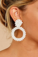 3 Multifaceted Charm White Earrings at reddressboutique.com