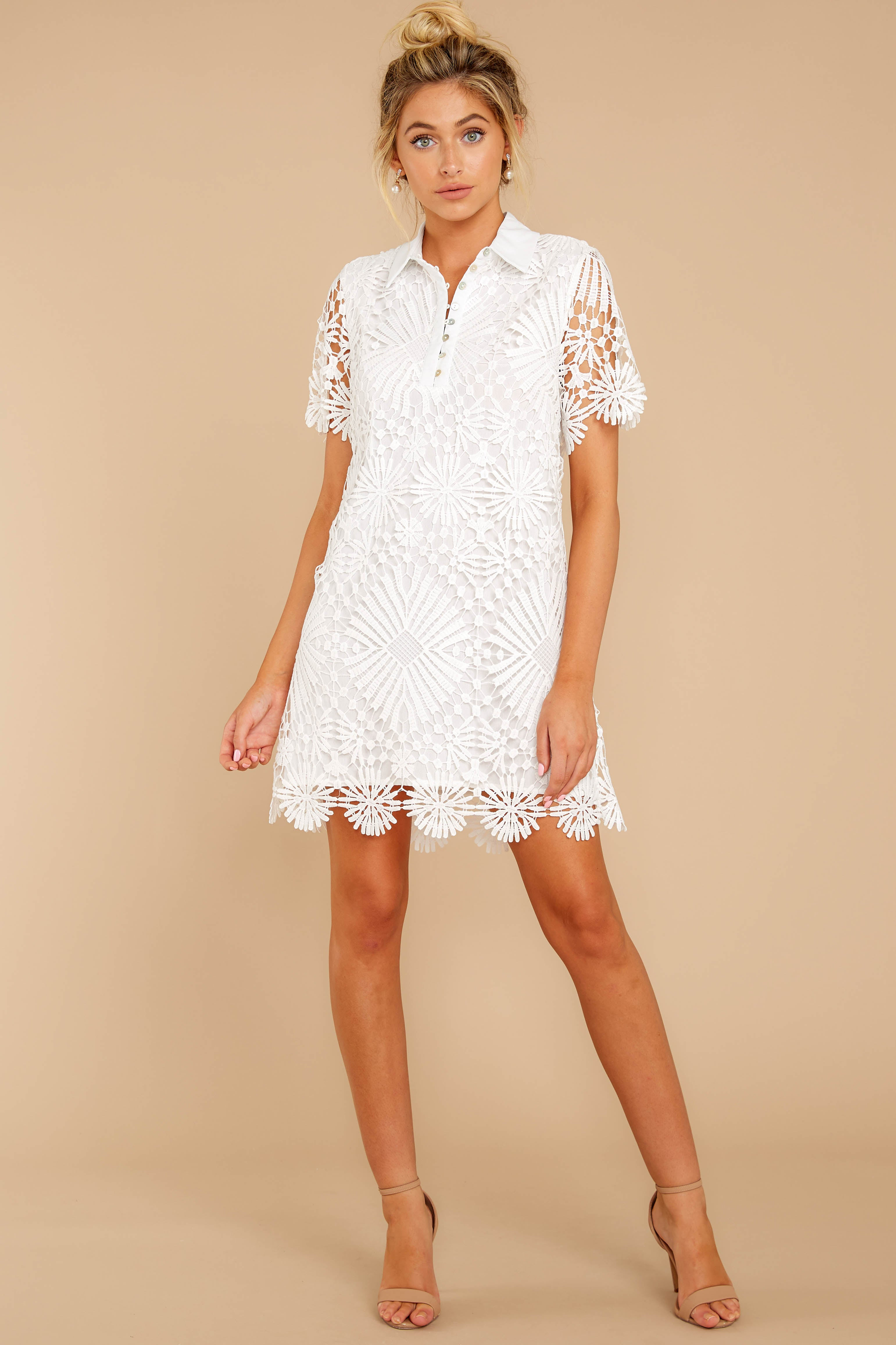 1 Bursting With Delight White Lace Dress at reddressboutique.com