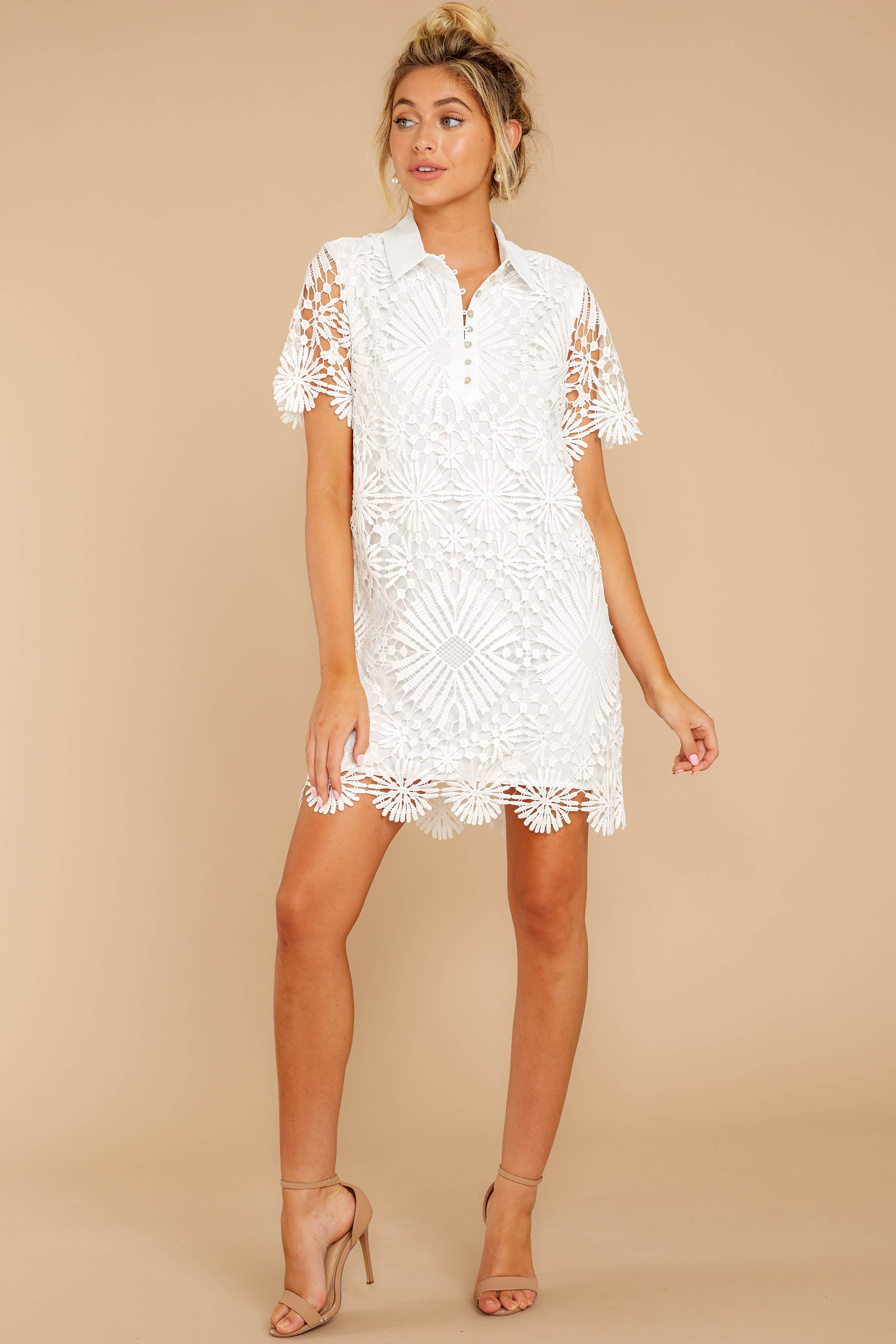 3 Bursting With Delight White Lace Dress at reddressboutique.com