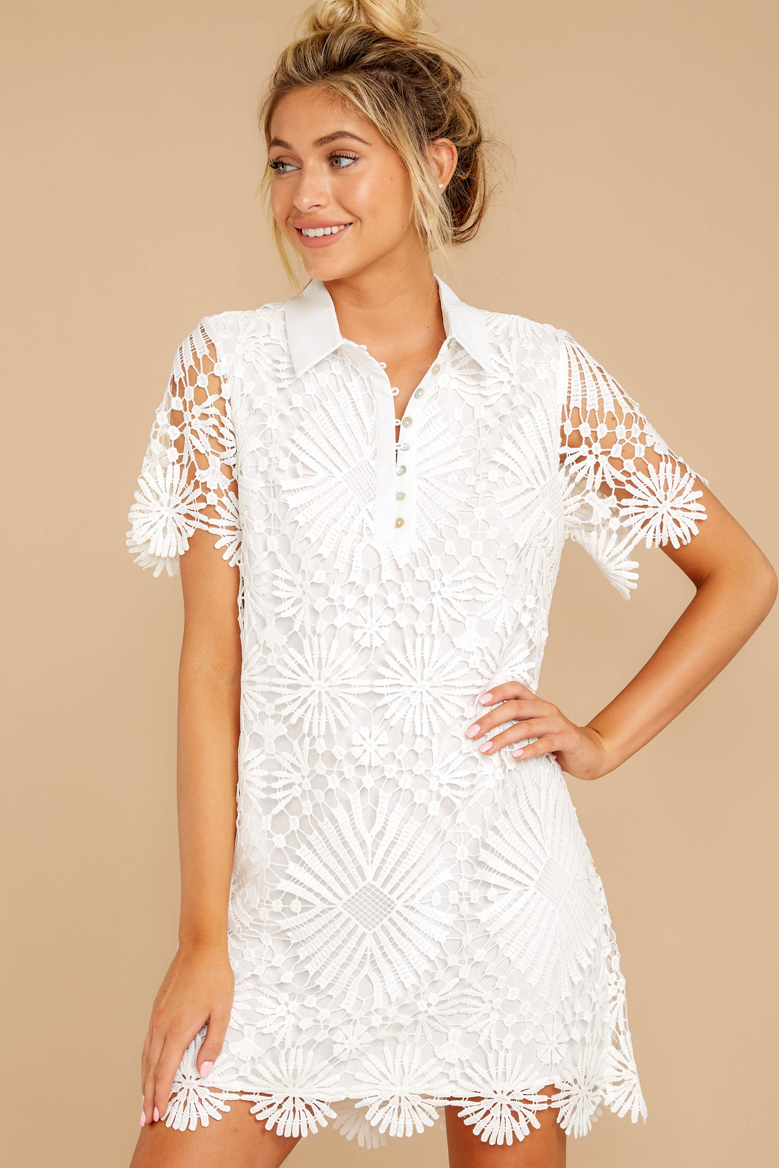 5 Bursting With Delight White Lace Dress at reddressboutique.com