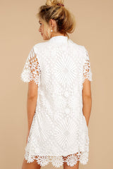 7 Bursting With Delight White Lace Dress at reddressboutique.com