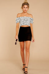 3 Top Spot White Print Crop Top at reddress.com