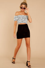 2 Top Spot White Print Crop Top at reddress.com