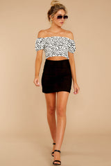 4 Top Spot White Print Crop Top at reddress.com