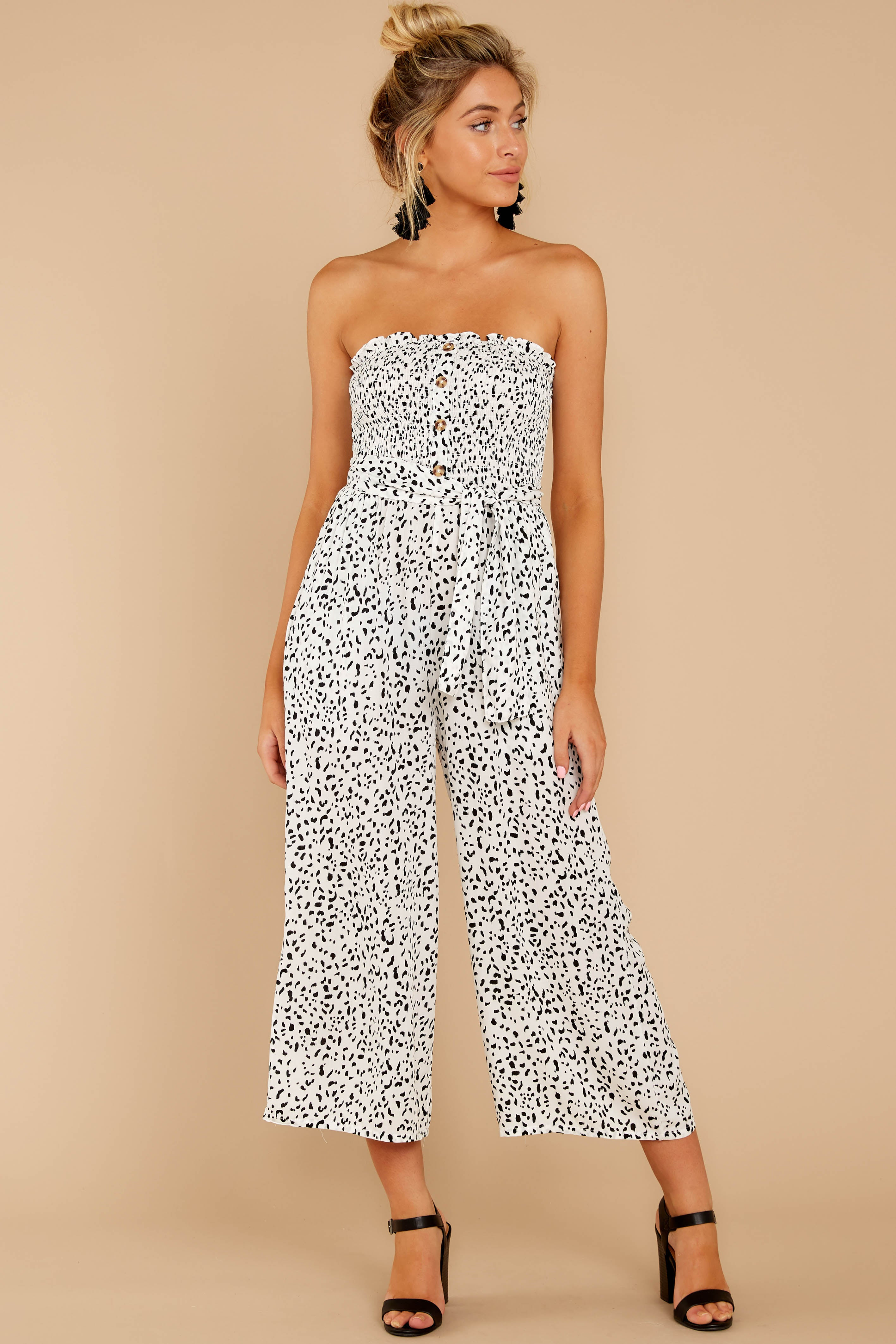 4 Leap Into Love White Cheetah Print Jumpsuit at reddress.com