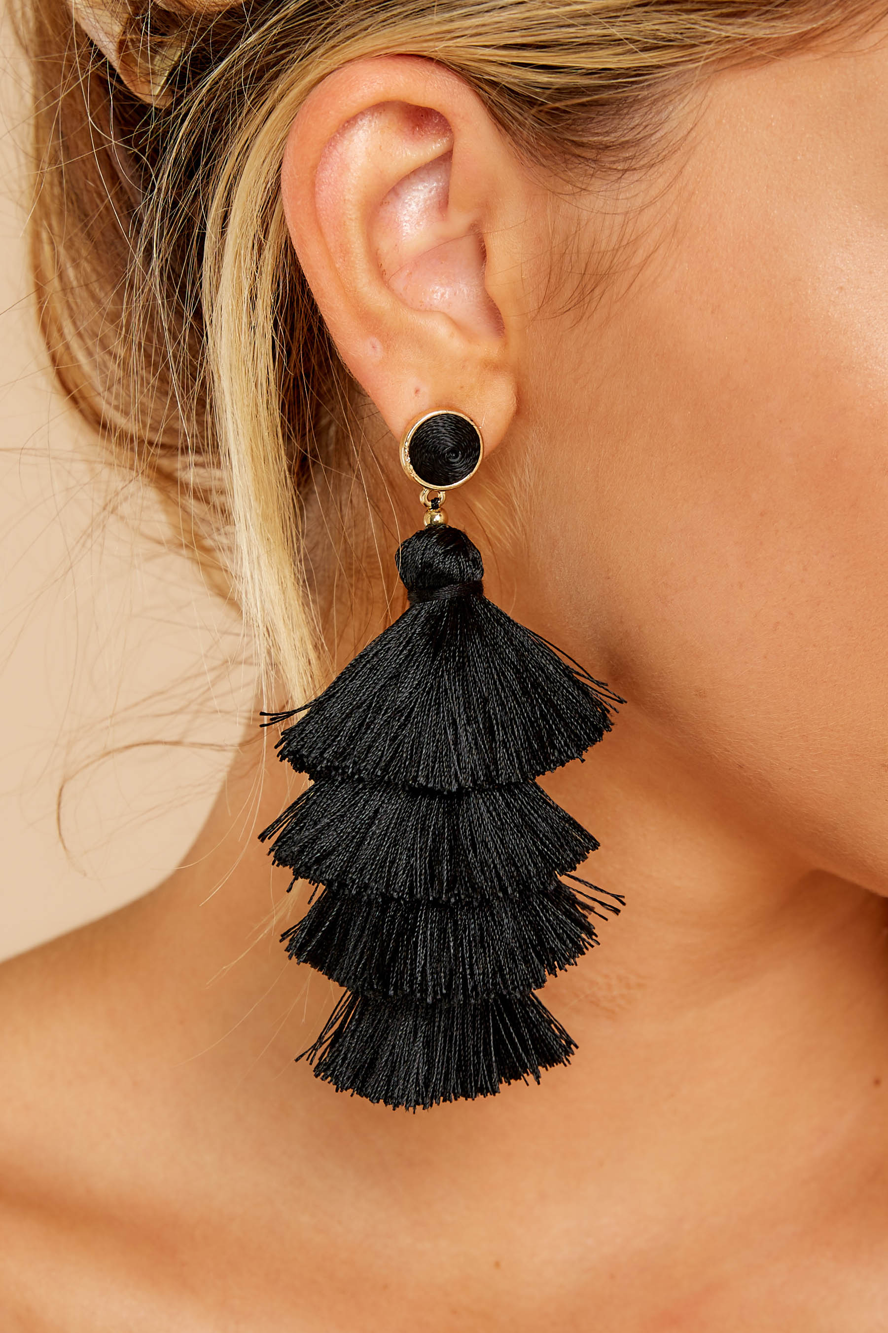 1 Tier And Now Black Tassel Earrings at reddressboutique.com