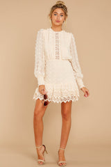 3 All Dressed Up Cream Lace Dress at reddressboutique.com