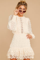 4 All Dressed Up Cream Lace Dress at reddressboutique.com