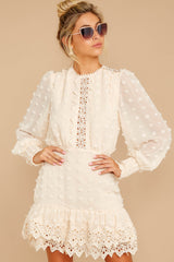 6 All Dressed Up Cream Lace Dress at reddressboutique.com