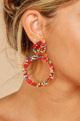 1 No Questions Asked Pink Multi Beaded Earrings at reddressboutique.com
