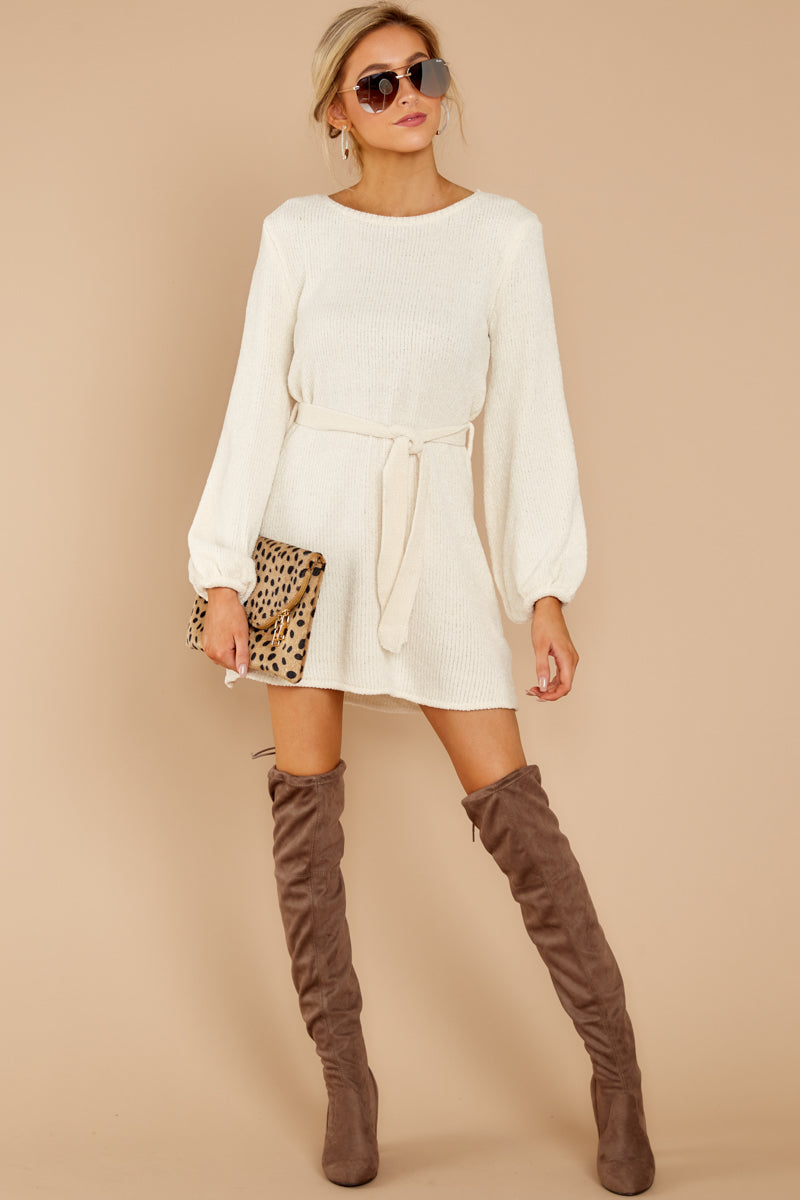 6 Right About It Ivory Chenille Sweater Dress at reddress.com
