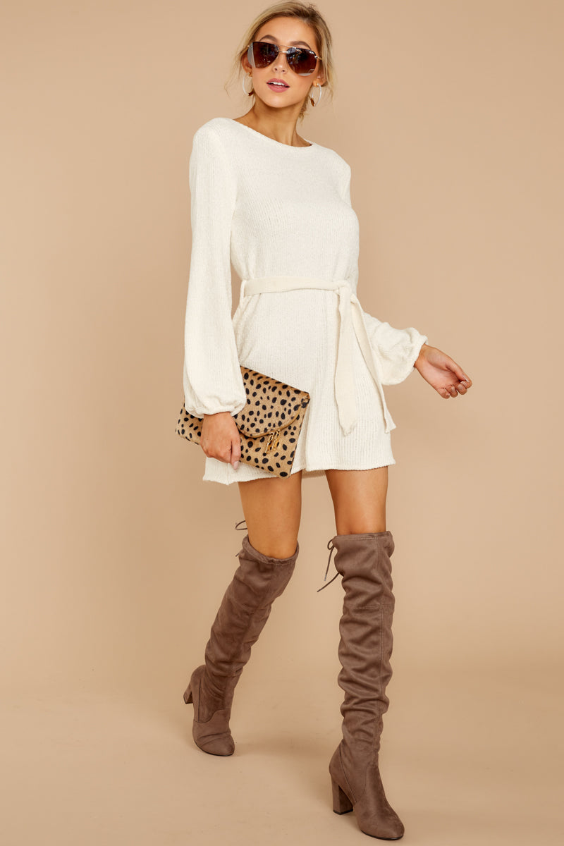 2 Right About It Ivory Chenille Sweater Dress at reddressboutique.com