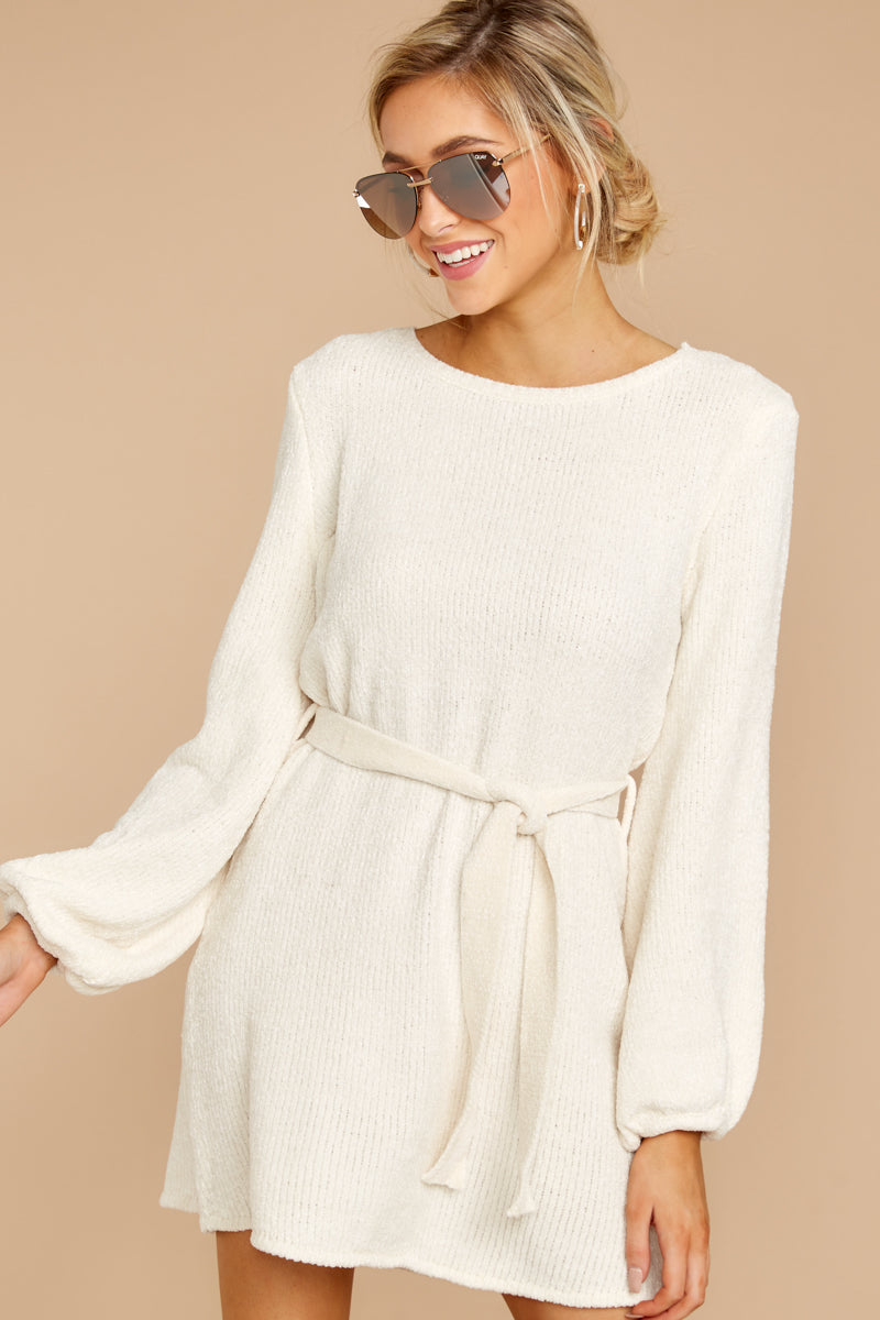 8 Right About It Ivory Chenille Sweater Dress at reddress.com