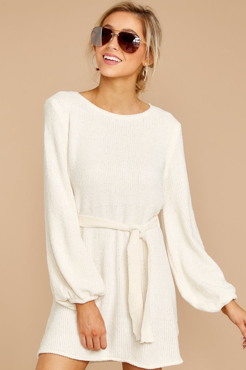1 Right About It Ivory Chenille Sweater Dress at reddress.com