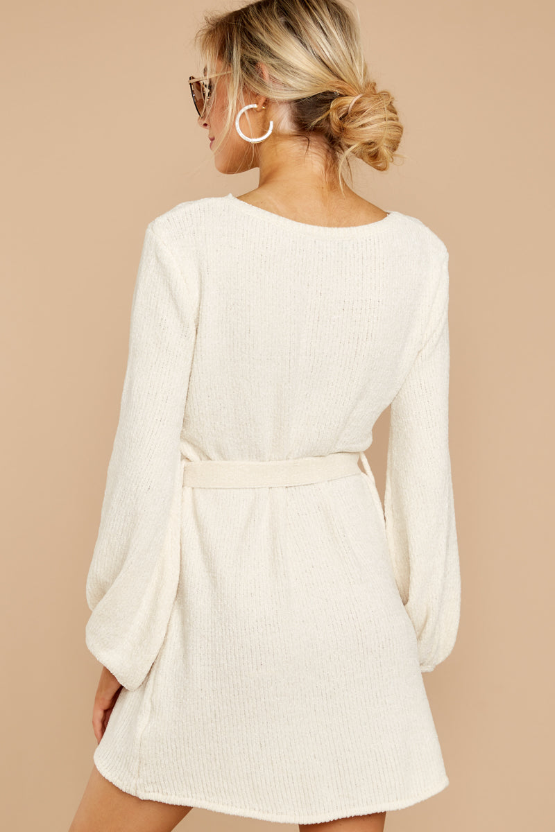 6 Right About It Ivory Chenille Sweater Dress at reddressboutique.com