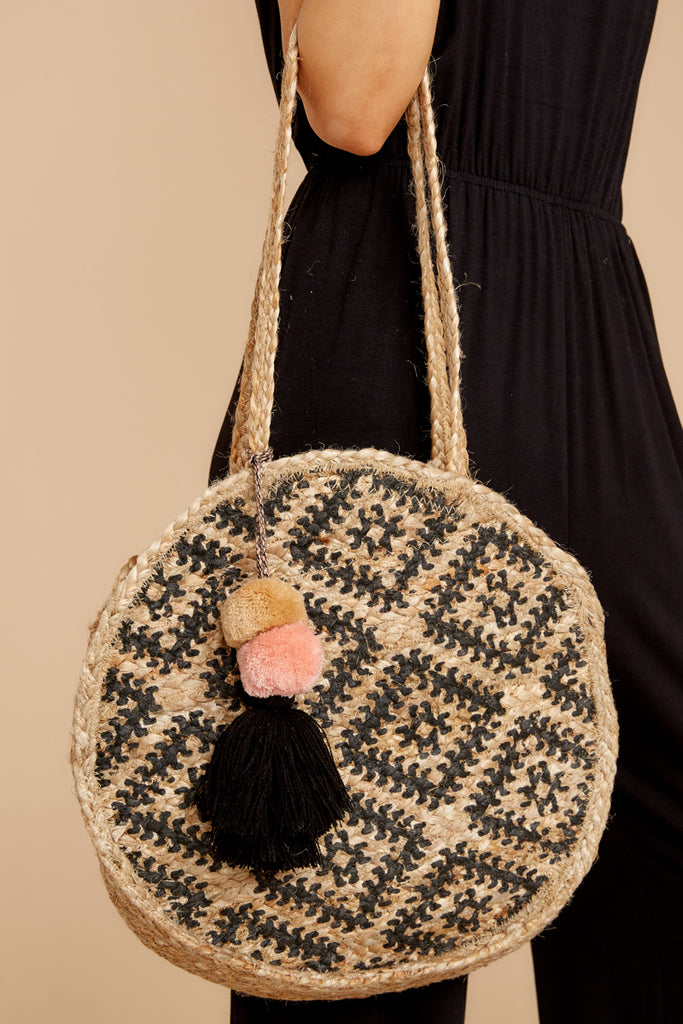 2 For Real Tan And Black Woven Round Bag at reddressboutique.com