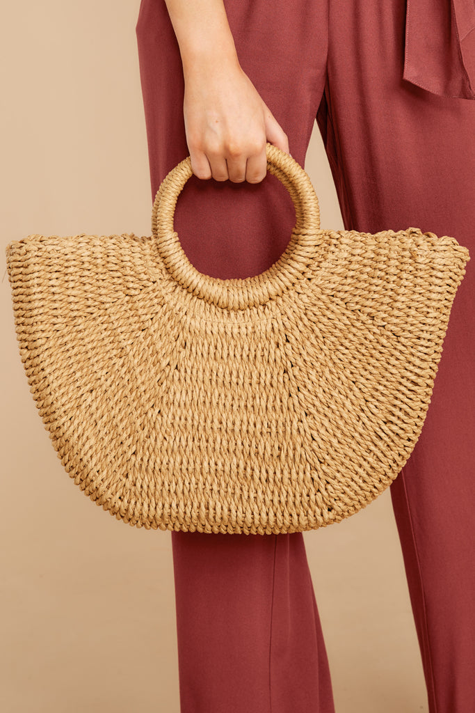 5Round Of Applause Tan Round Bag at reddressboutique.com