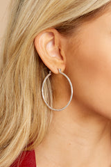 1 On The Come Up Silver Hoop Earrings at reddressboutique.com