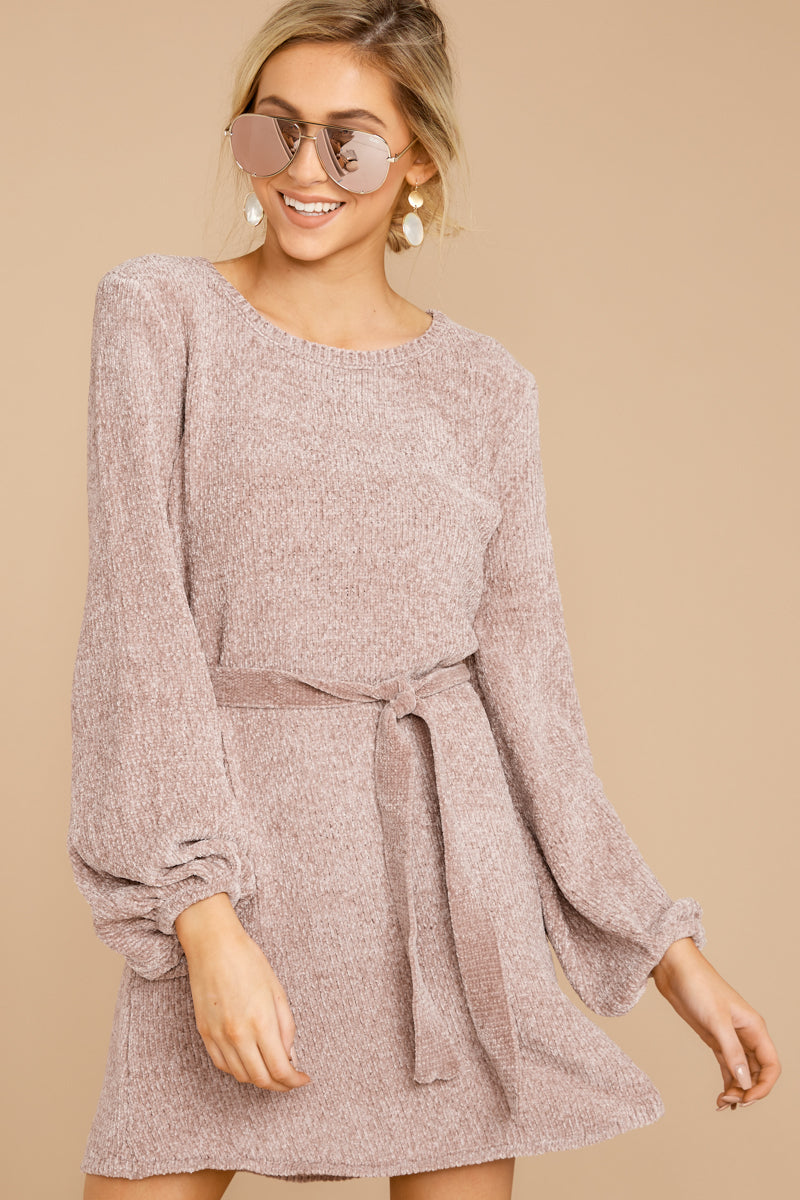 3 Right About It Mauve Chenille Sweater Dress @ reddress.com
