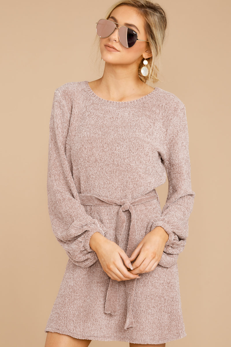4 Right About It Mauve Chenille Sweater Dress @ reddress.com