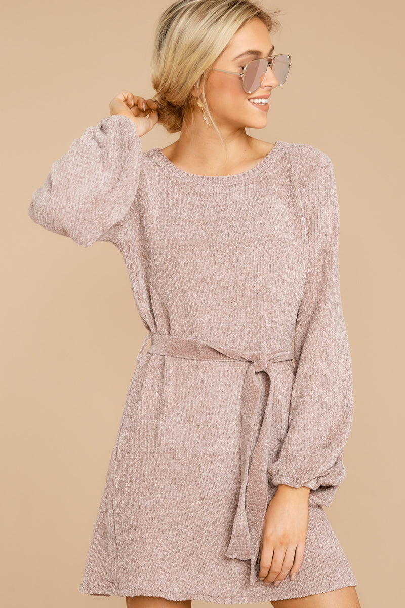 6 Right About It Mauve Chenille Sweater Dress @ reddress.com