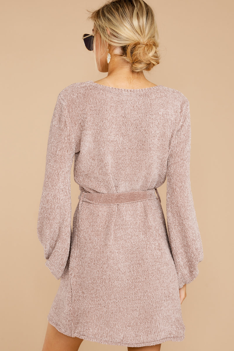 7 Right About It Mauve Chenille Sweater Dress @ reddress.com