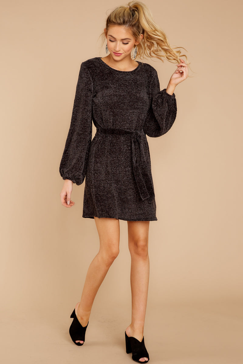 64a79f0cc41 Sleek Black Chenille Sweater Dress - Short Sweater Dress - Dress ...