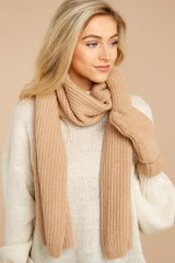 1 Cozy At The Park Beige Scarf at reddressboutique.com