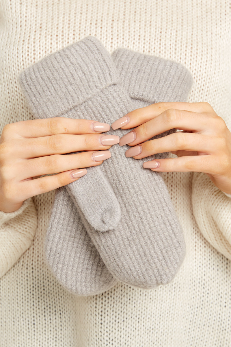 1 Comfort In The Cold Light Grey Mittens at reddressboutique.com