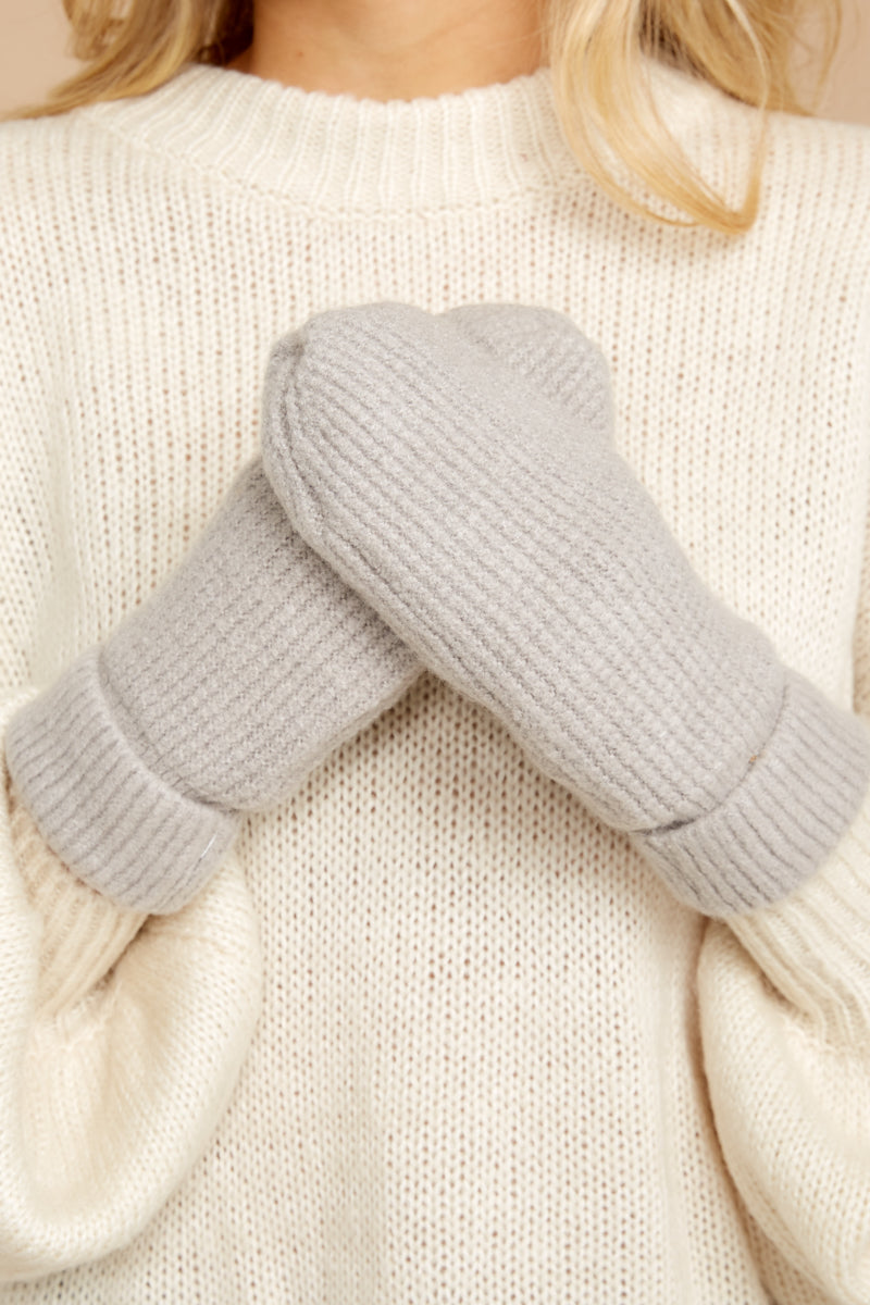 2 Comfort In The Cold Light Grey Mittens at reddressboutique.com