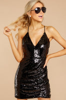 V-neck Spaghetti Strap Polyester Ruched Sequined Hidden Back Zipper Plunging Neck Bodycon Dress/Party Dress