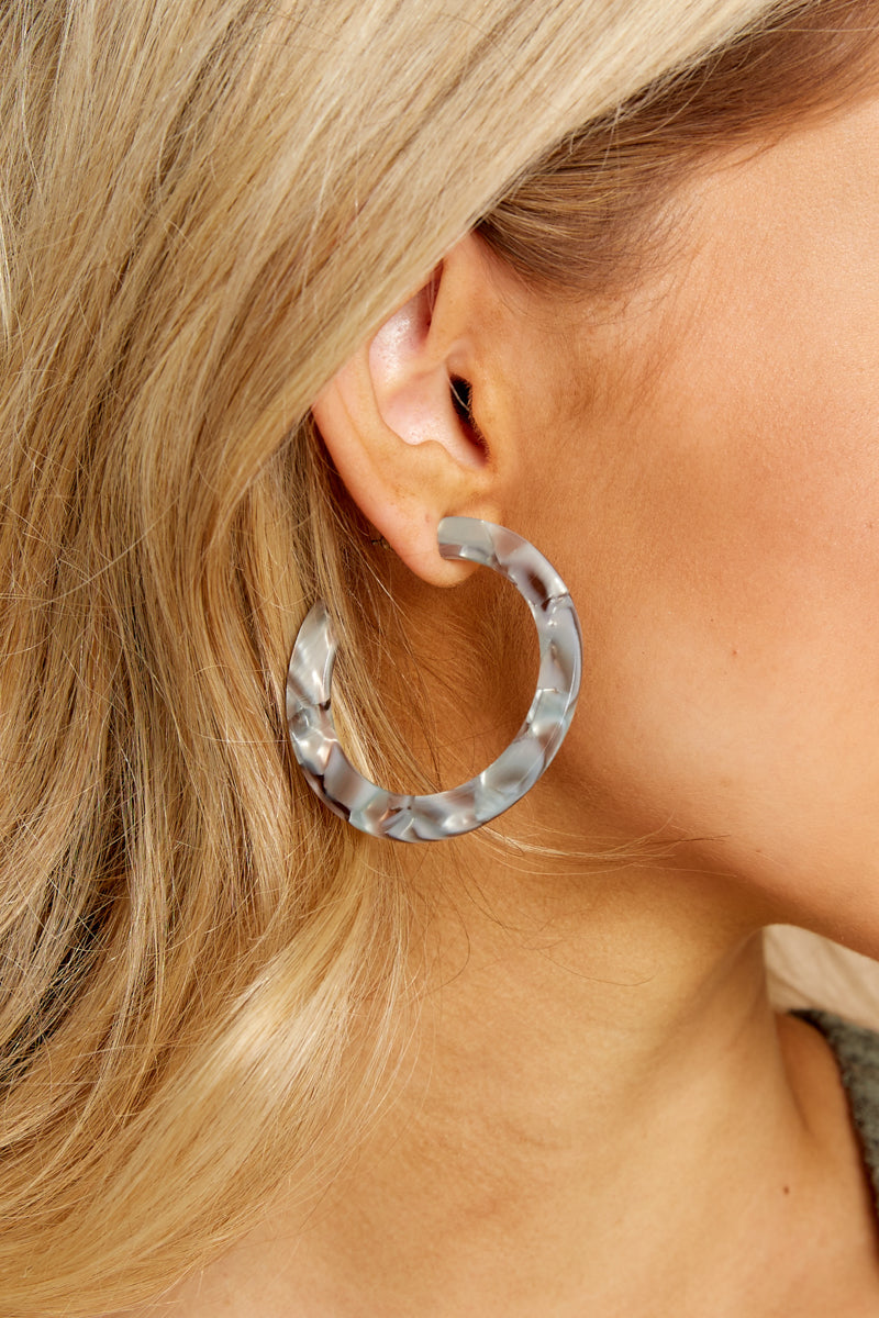 Winter Everlasting Blue Tortoise Hoop Acrylic Earrings