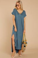V-neck High-Low-Hem Short Pocketed Slit Gathered Dolman Sleeves Beach Dress/Maxi Dress