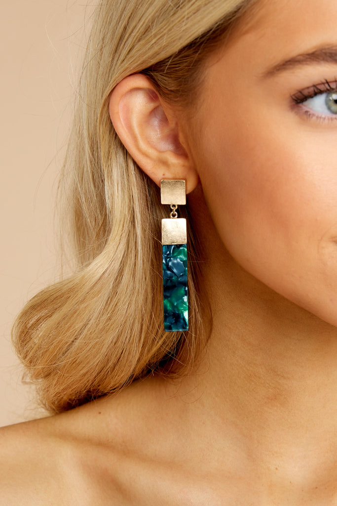 Spin Stories Emerald Tortoise Acrylic Earrings